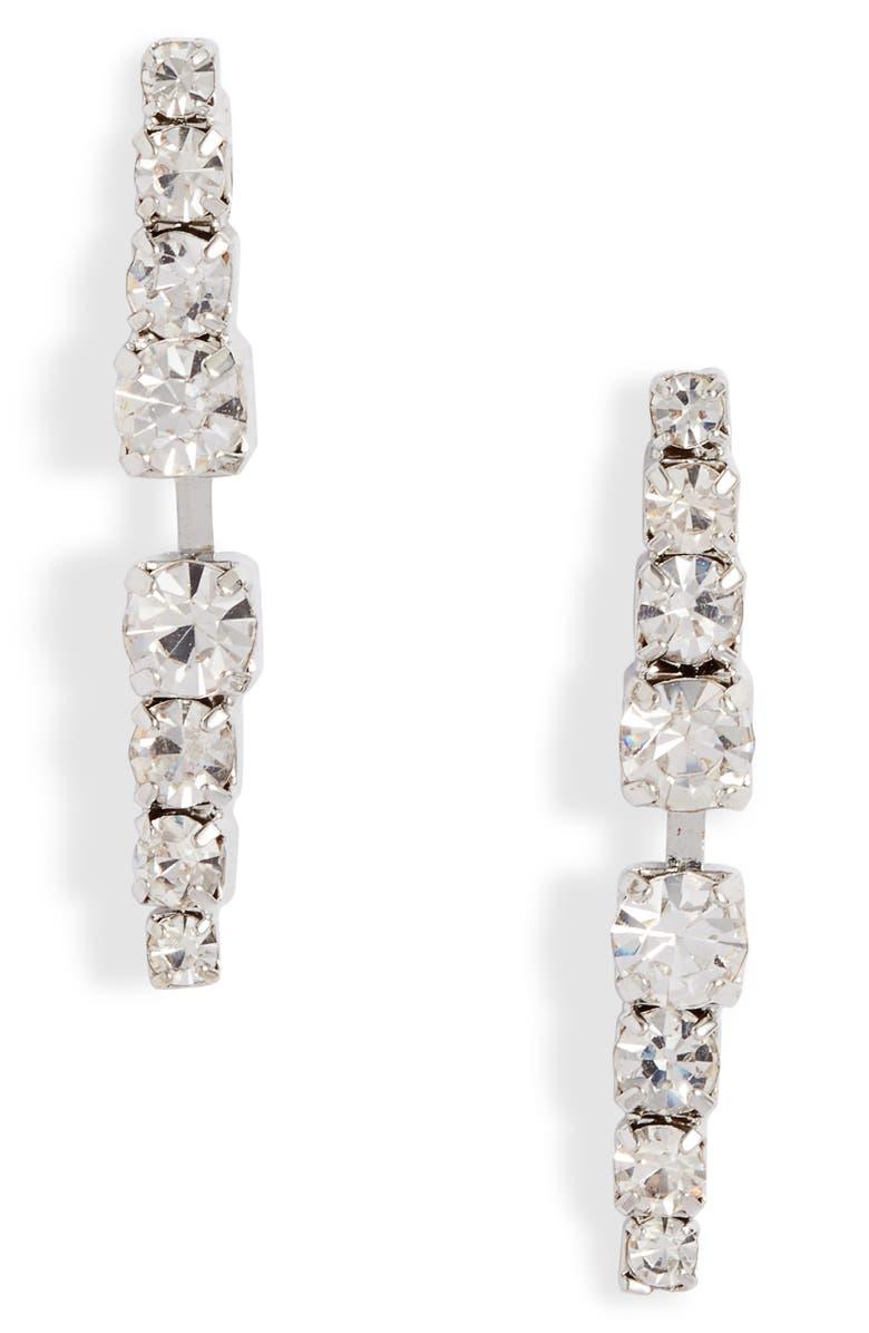 CRISTABELLE Mirror Linear Button Earrings, Main, color, 040