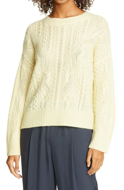 Image of Vince Open Cable Knit Wool & Cashmere Blend Sweater