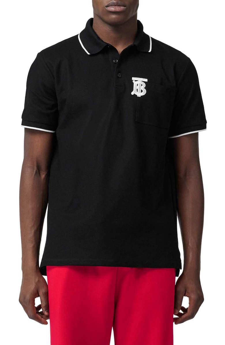 BURBERRY Crewe Piqué Polo, Main, color, BLACK