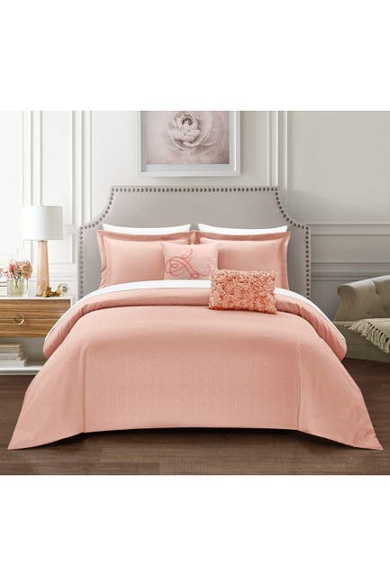 Image of Chic Home Bedding Emmeline Casual Country Pleated Design Queen 5-Piece Set - Blush