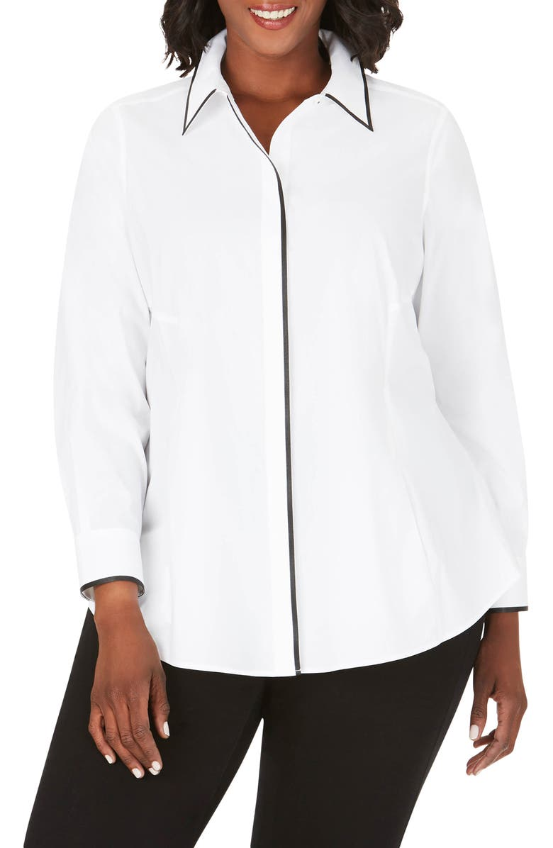 FOXCROFT Cici Stretch Tunic Shirt, Main, color, WHITE