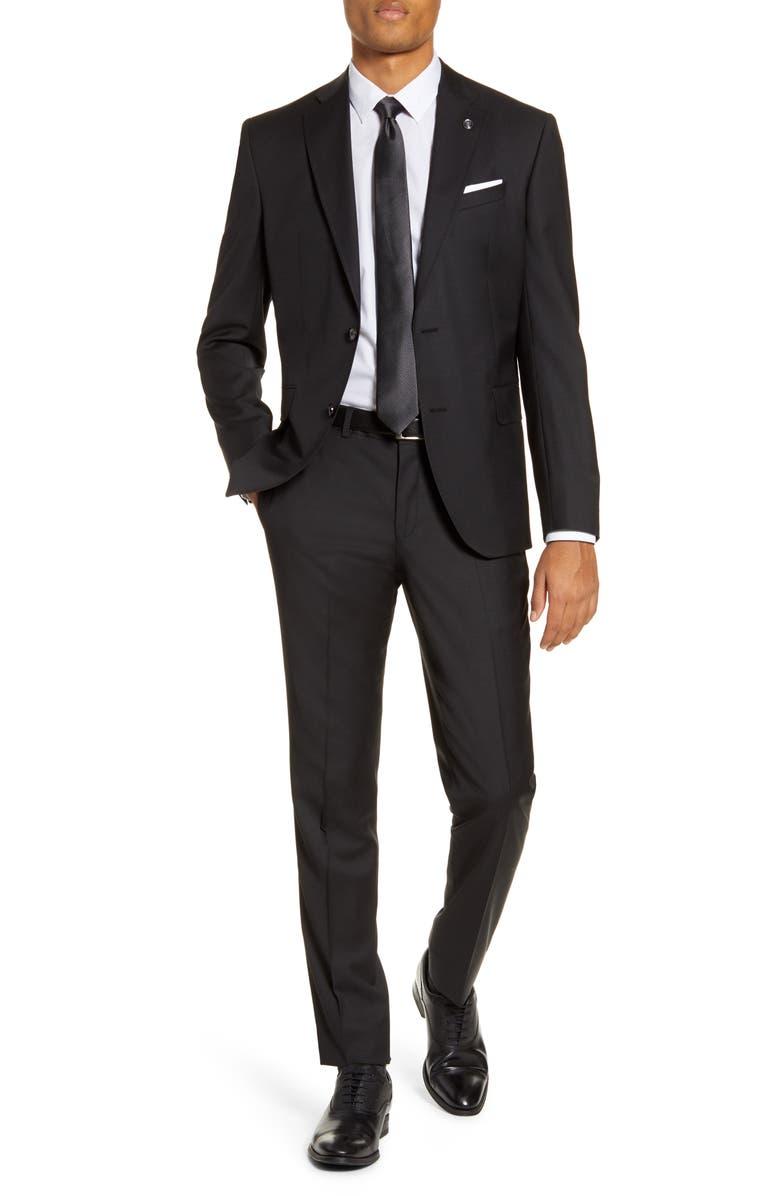 TED BAKER LONDON Roger Slim Fit Wool Suit, Main, color, BLACK