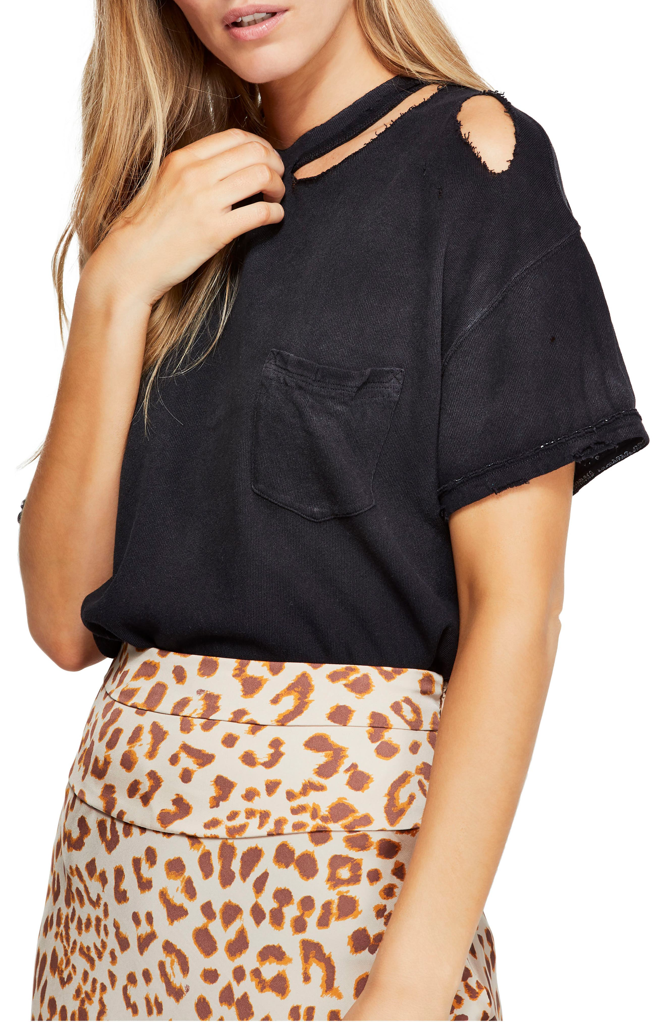 Free People Lucky Distressed Tee, Black