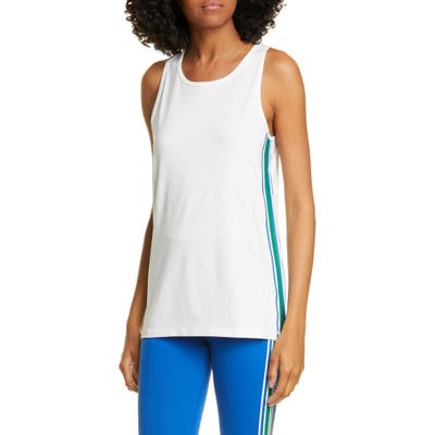Tory Sport Retro Stripe Performance Tank, White