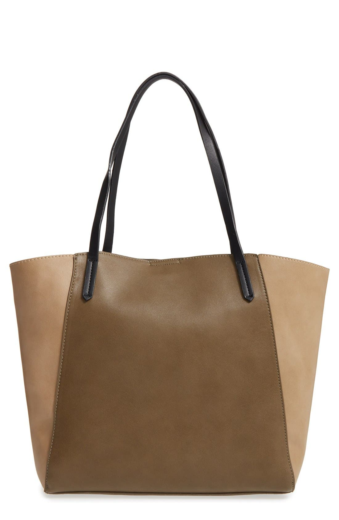 ,                             Colorblock Faux Leather Tote,                             Main thumbnail 25, color,                             315