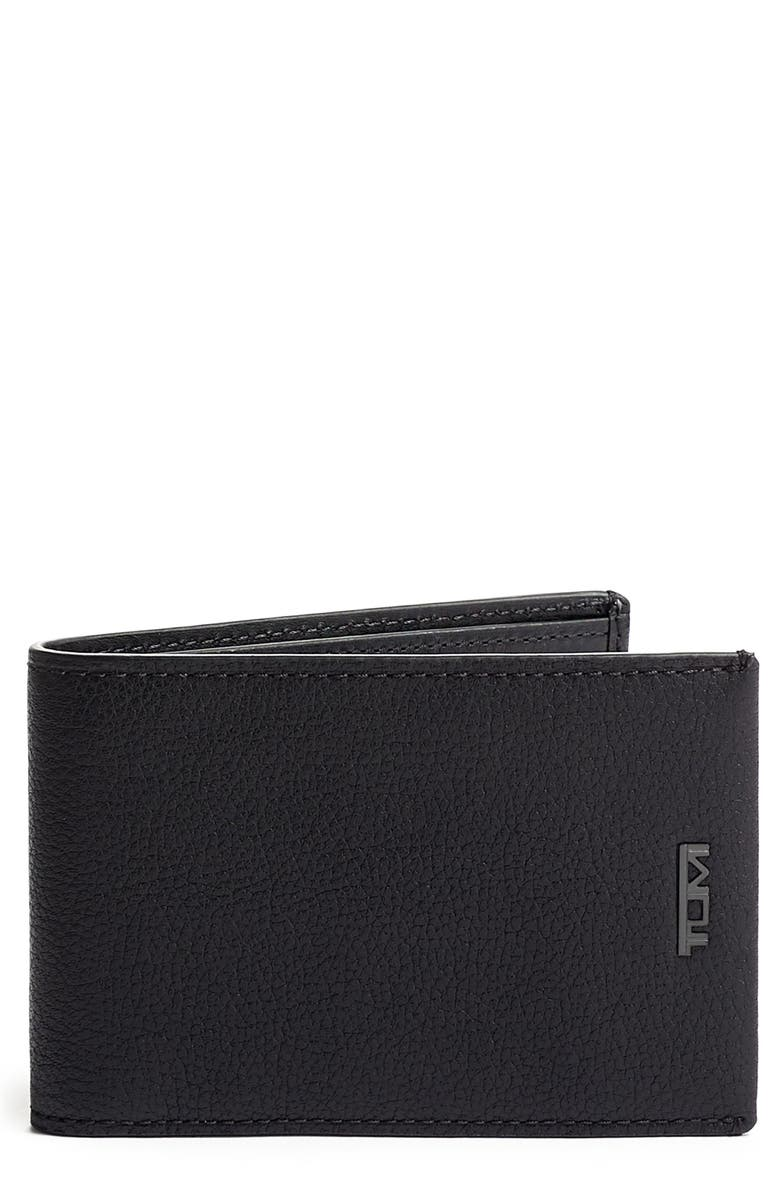TUMI Nassau Slim Leather Wallet, Main, color, BLACK TEXTURE