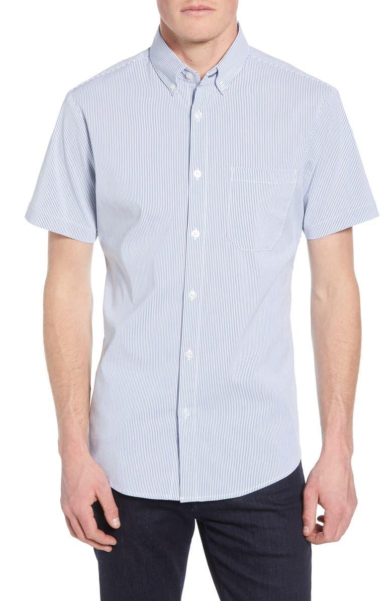 MIZZEN+MAIN Bannard Trim Fit Stripe Performance Shirt, Main, color, BLUE