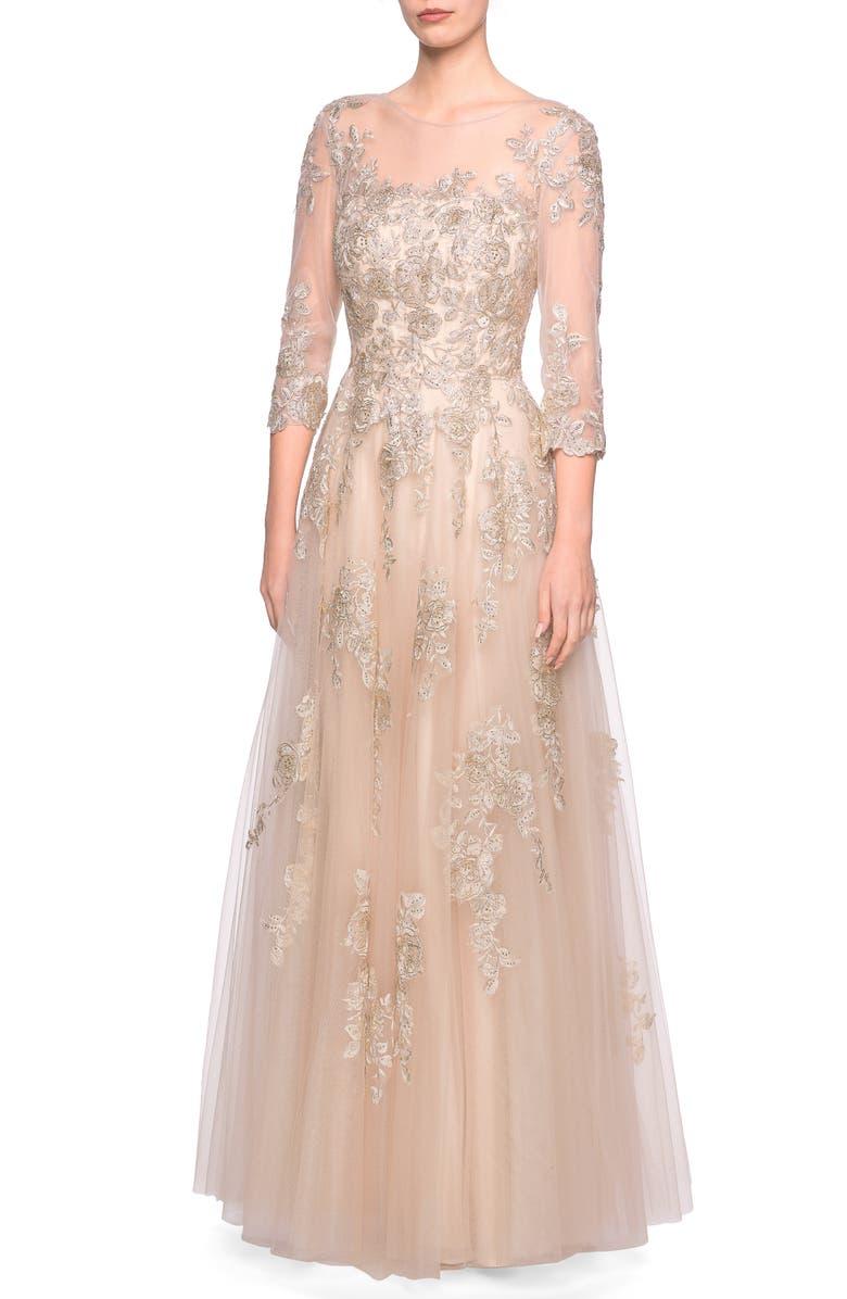 LA FEMME Lace & Tulle Illusion Bodice Gown, Main, color, NUDE