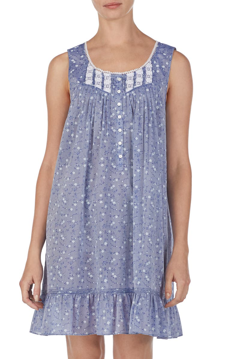 EILEEN WEST Chambray Chemise, Main, color, BLUE CHAMBRAY WITH FLORAL TOSS