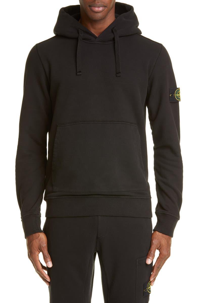 STONE ISLAND Patch Hooded Sweatshirt, Main, color, 001