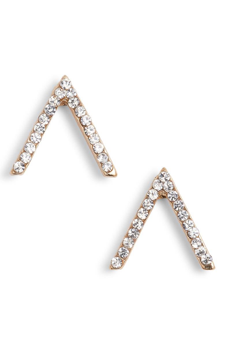 UNCOMMON JAMES BY KRISTIN CAVALLARI Little Stud Crystal Chevron Stud Earrings, Main, color, 710