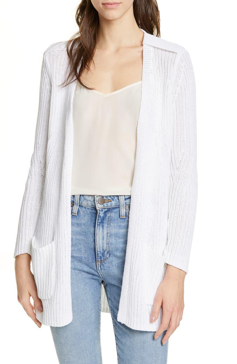 BROCHU WALKER Nisse Cotton Blend Cardigan, Main, color, SALT WHITE