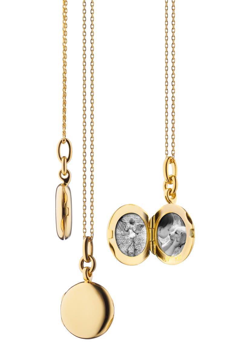 MONICA RICH KOSANN Slim Round Locket Necklace, Main, color, YELLOW GOLD