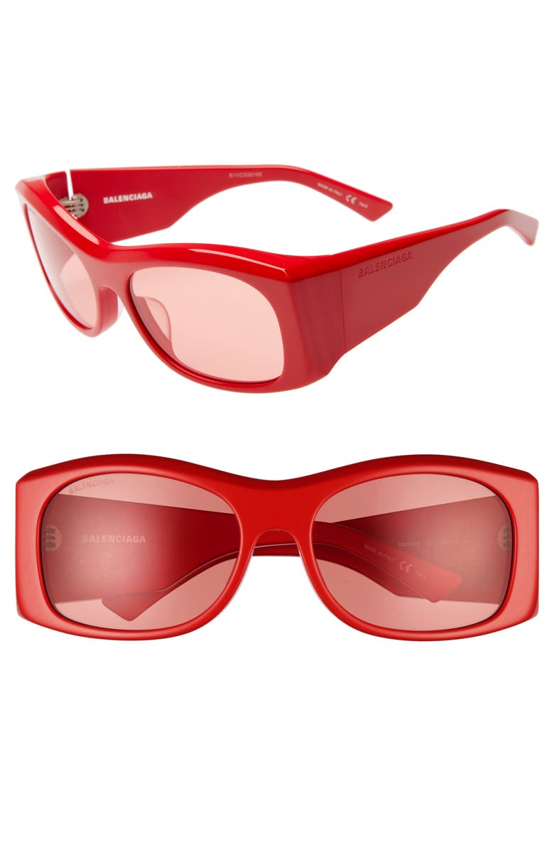 BALENCIAGA 59mm Rectangular Sunglasses, Main, color, SHINY SOLID RED/ RED