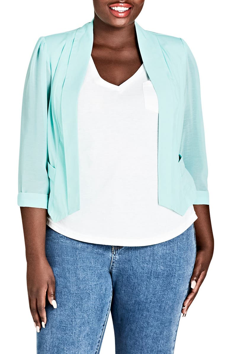 CITY CHIC Sheer Sleeve Crop Blazer, Main, color, 315