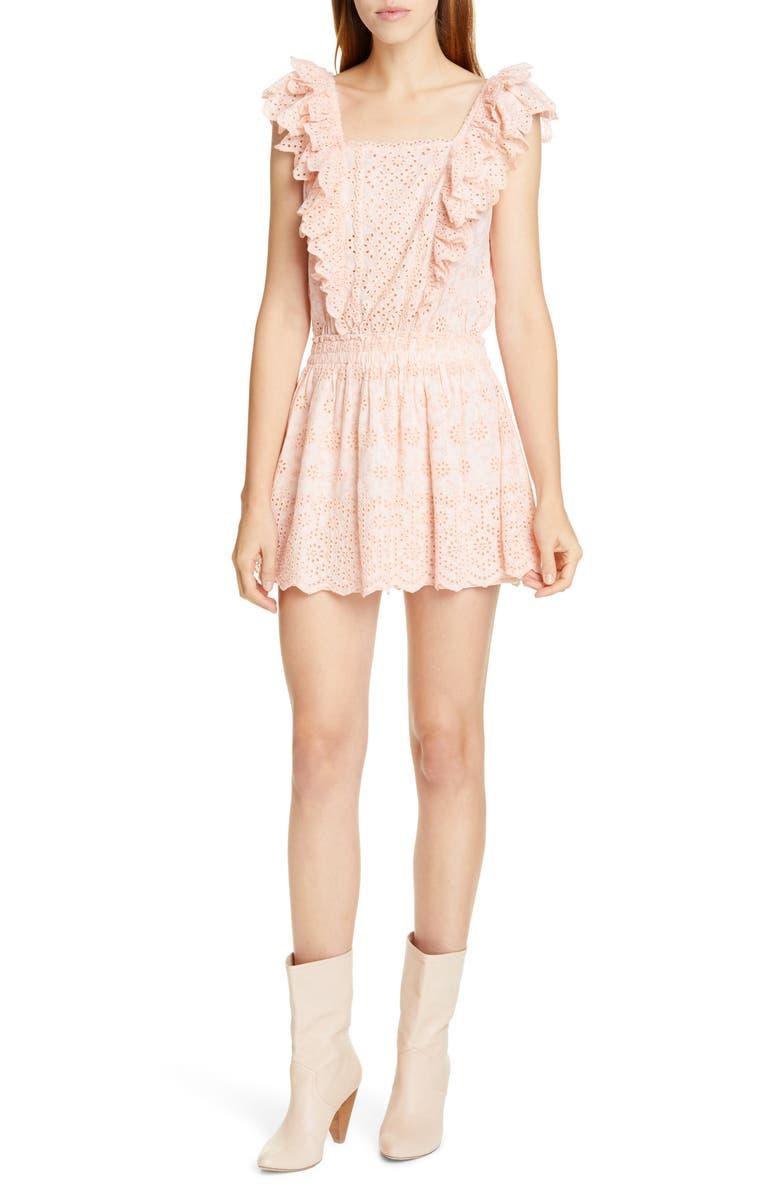 LOVESHACKFANCY Dora Lace Eyelet Minidress, Main, color, 684