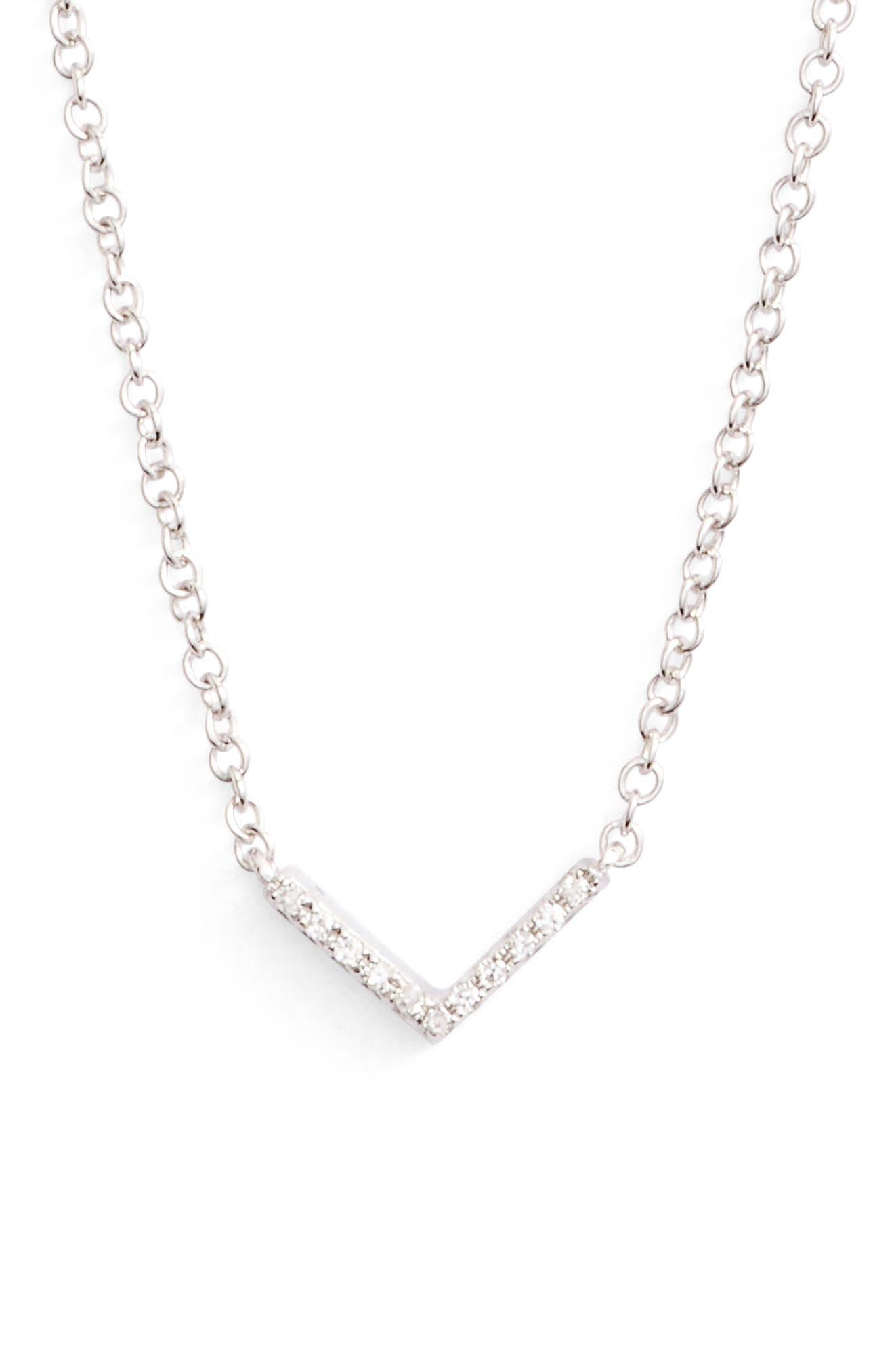 Mini Chevron Diamond Pendant Necklace
