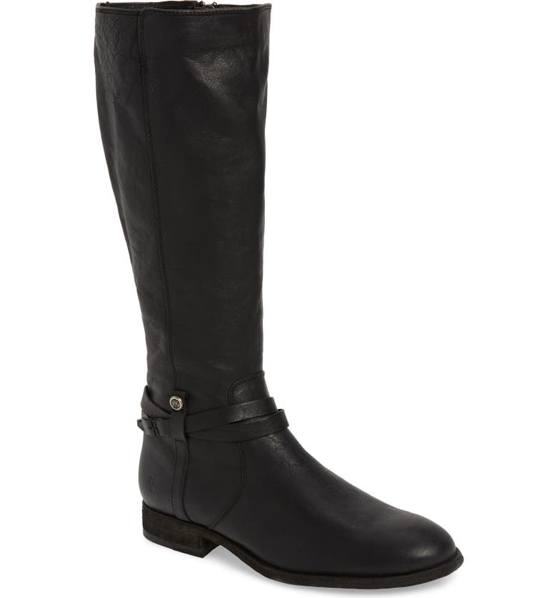 FRYE Melissa Belted Knee-High Riding Boot, Main, color, BLACK LEATHER