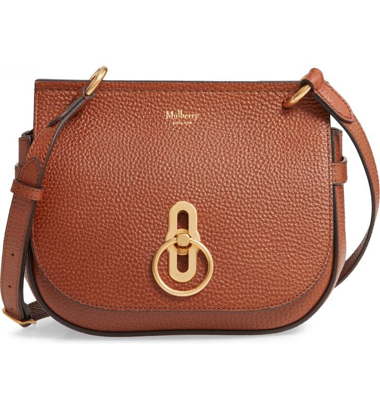 MULBERRY Small Amberley Leather Crossbody Saddle Bag, Main, color, 200