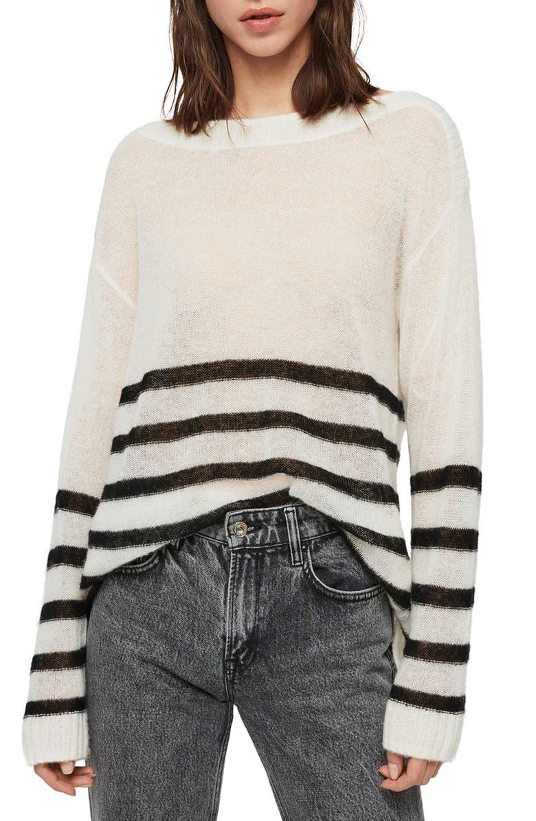 ALLSAINTS Lune Boat Neck Sweater, Main, color, CHALK WHITE/ BLACK