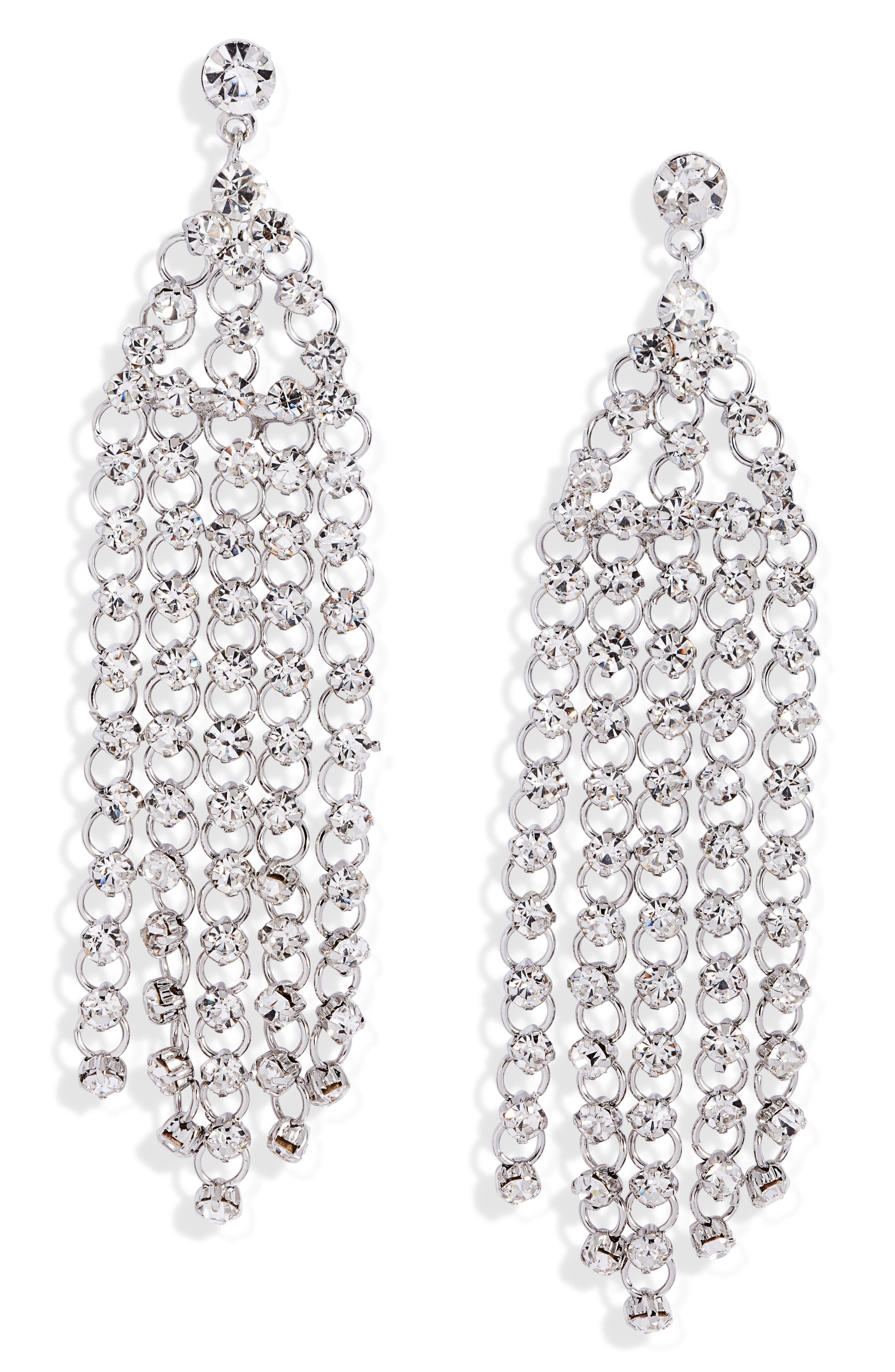 Crystal Fringe Drop Earrings