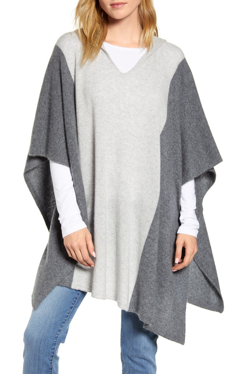 Colorblock Hooded Cashmere Poncho by Halogen®