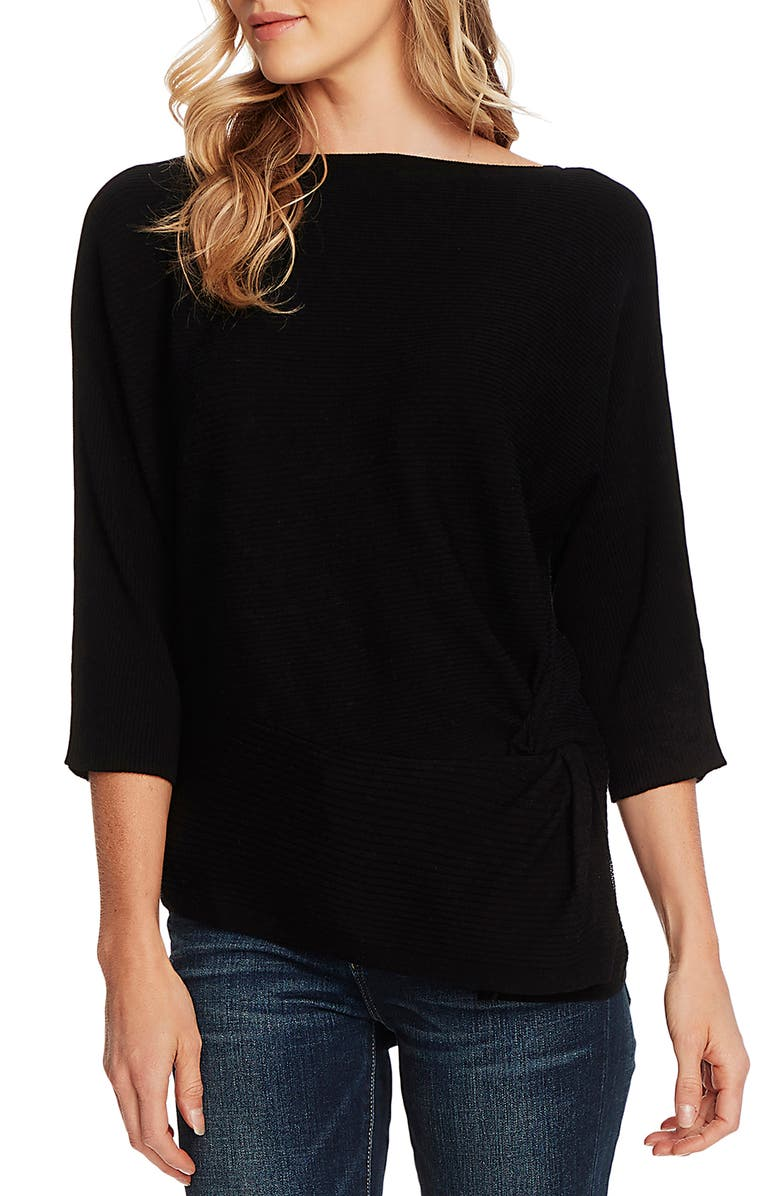 VINCE CAMUTO Twist Dolman Sleeve Ribbed Asymmetrical Top, Main, color, 001
