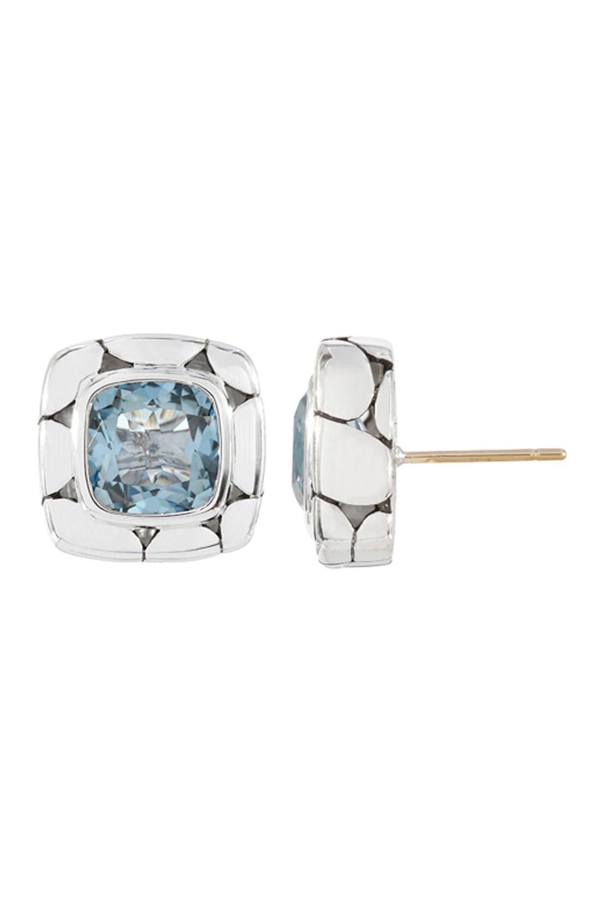 Image of JOHN HARDY Sterling Silver Kali Blue Topaz Square Stud Earrings