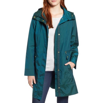 Petite Cole Haan Signature Back Bow Packable Hooded Raincoat, Green