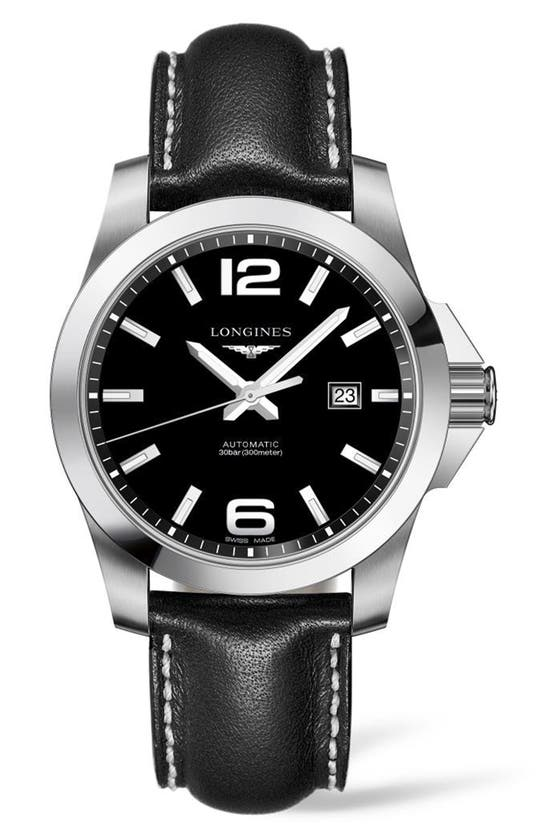 Longines Hydroconquest Automatic Bracelet Watch, 41mm In Black/ Silver