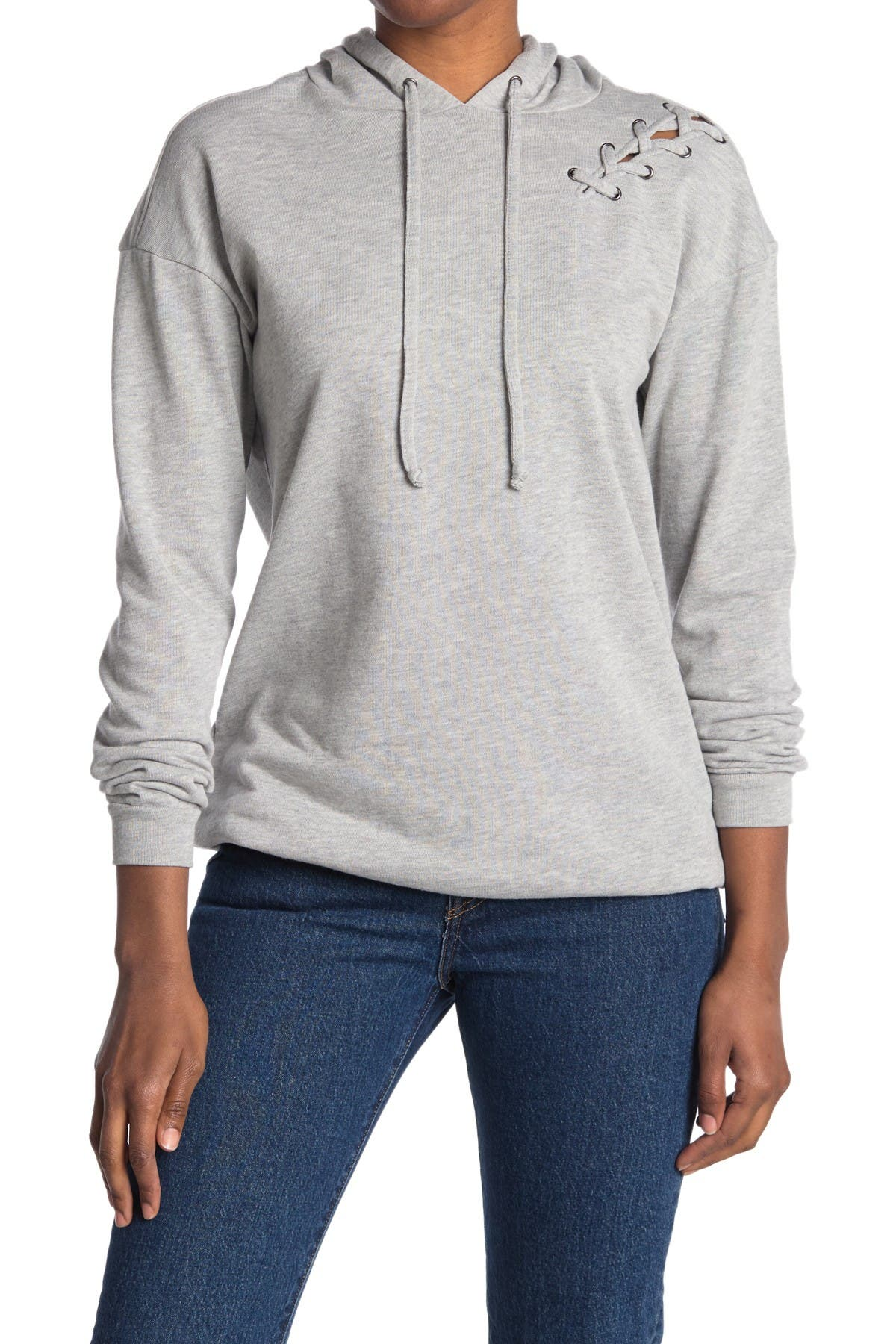 Image of MATERIAL GIRL Lace Up Hoodie Pullover