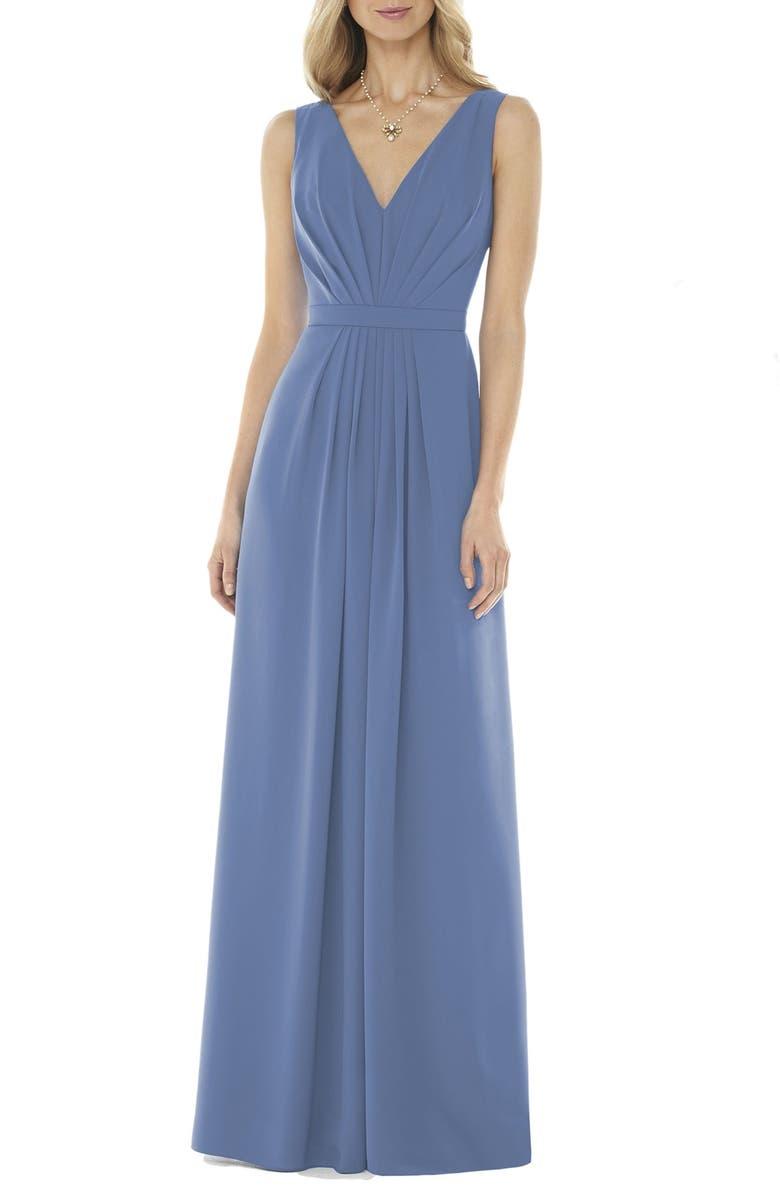 SOCIAL BRIDESMAIDS V-Neck Georgette A-Line Gown, Main, color, LARKSPUR