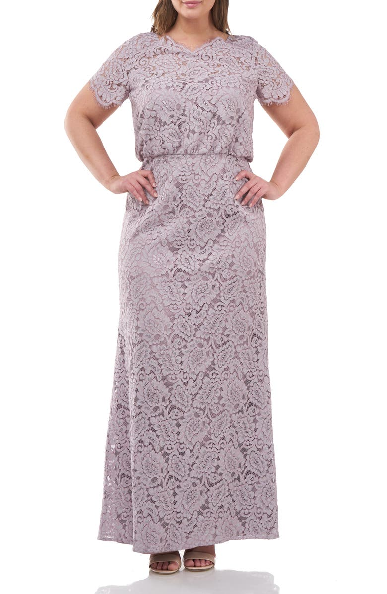 JS COLLECTIONS Blouson Waist Lace A-Line Gown, Main, color, TAUPE