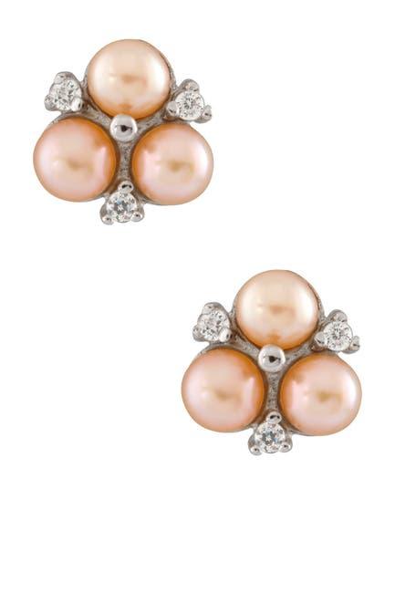 Image of Splendid Pearls 5.5-6mm Pink Freshwater Pearl CZ Cluster Stud Earrings