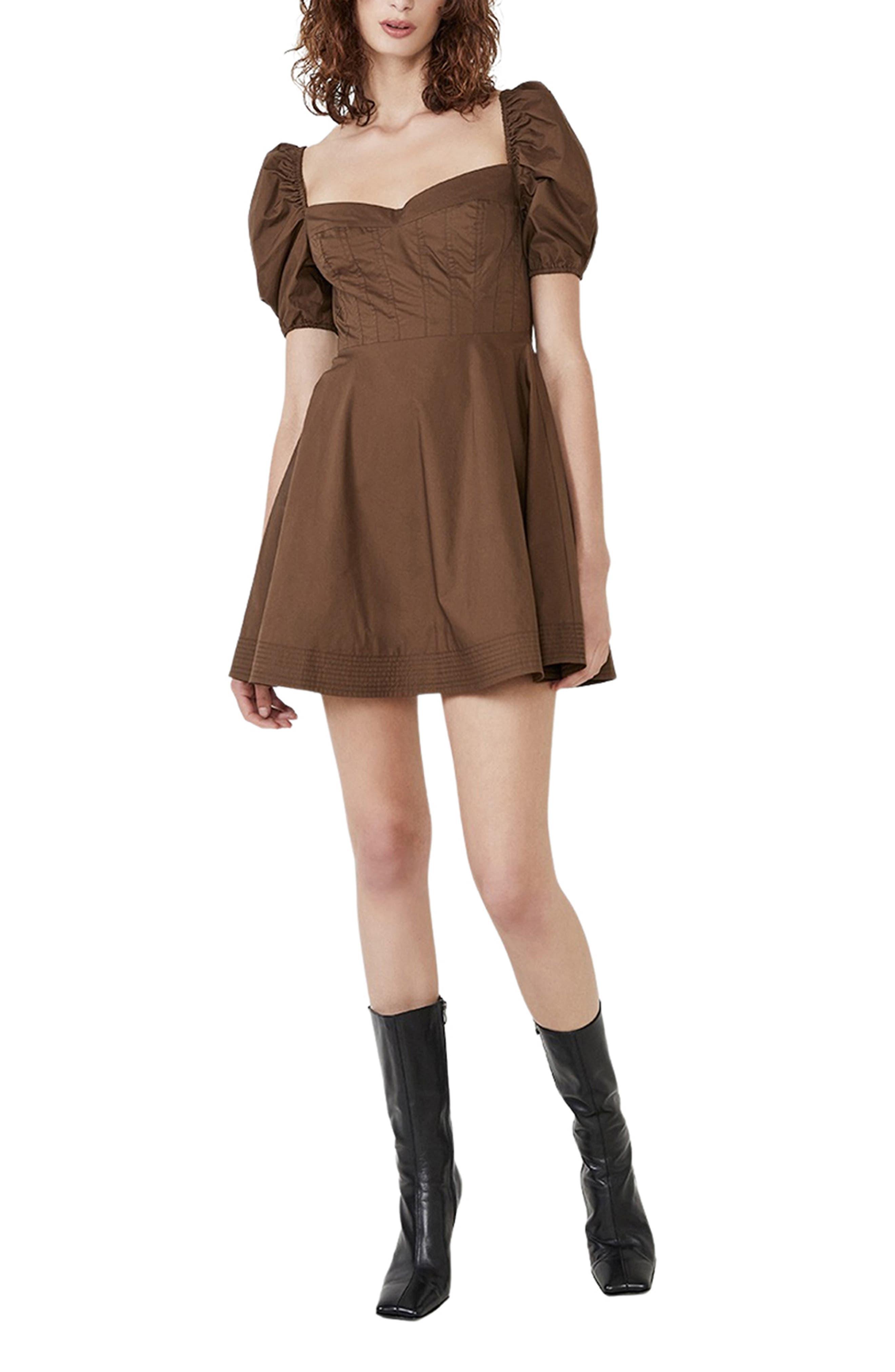 The Corset Puff Sleeve Cotton Blend Minidress
