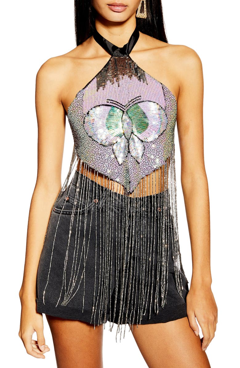 TOPSHOP Butterfly Halter Top, Main, color, 040