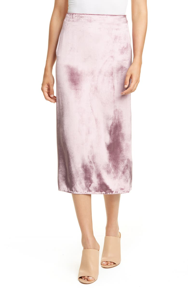 VINCE Pann Velvet Wrap Skirt, Main, color, AMARENA