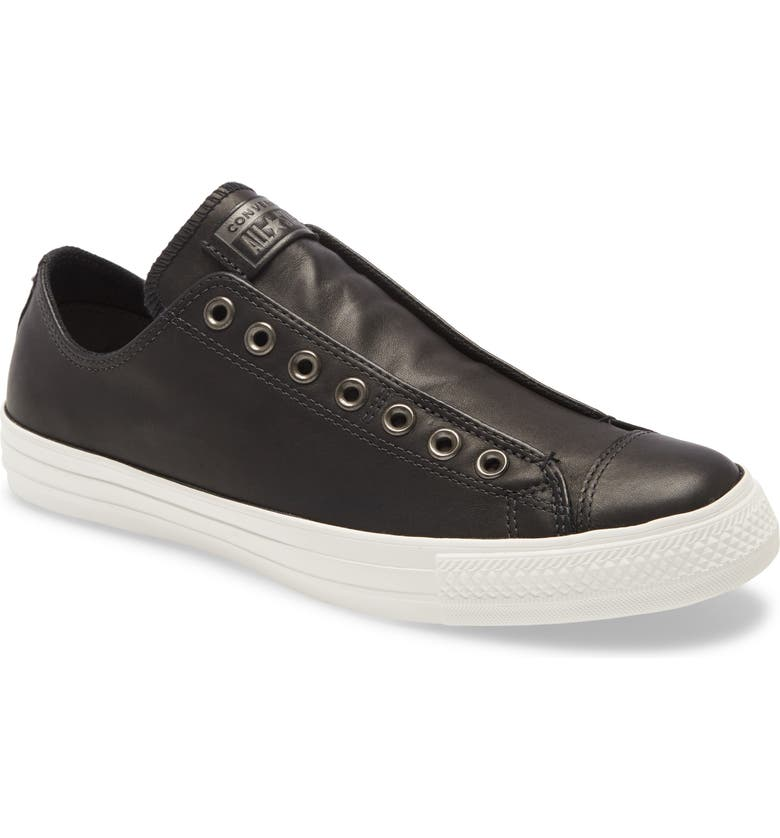 CONVERSE Chuck Taylor<sup>®</sup> All Star<sup>®</sup> Laceless Low Top Sneaker, Main, color, BLACK/ VINTAGE WHITE LEATHER