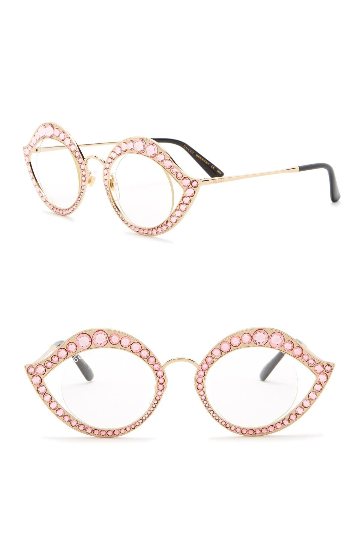 Image of GUCCI 41mm Crystal Accented Cat Eye Optical Frames