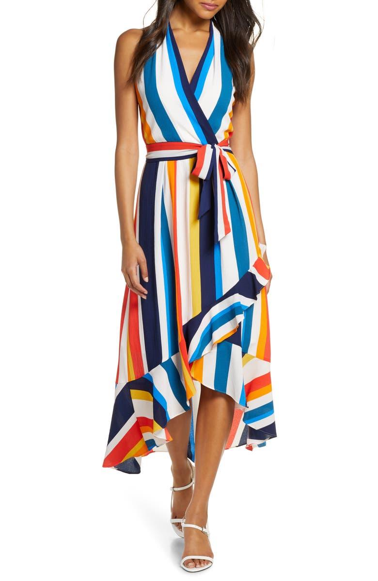 JULIA JORDAN Striped Halter Maxi Sundress, Main, color, IVORY MULTI