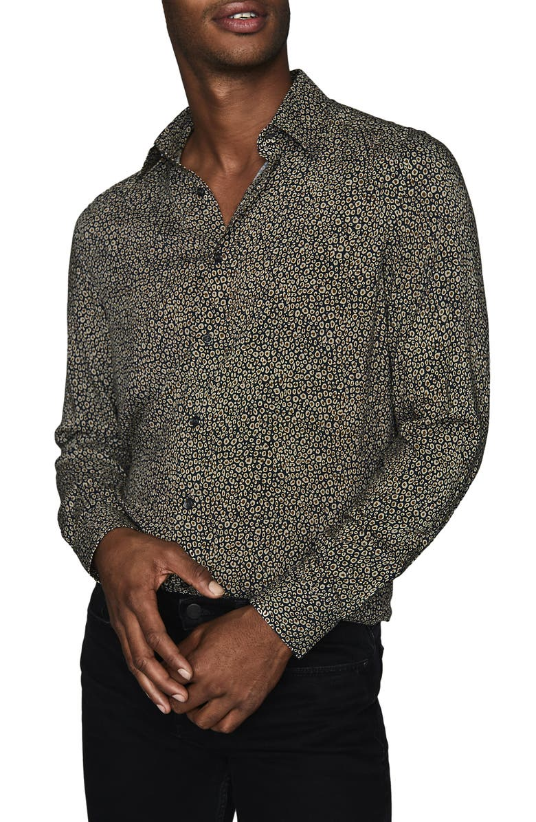 REISS Tash Slim Fit Cheetah Print Button-Up Shirt, Main, color, NAVY