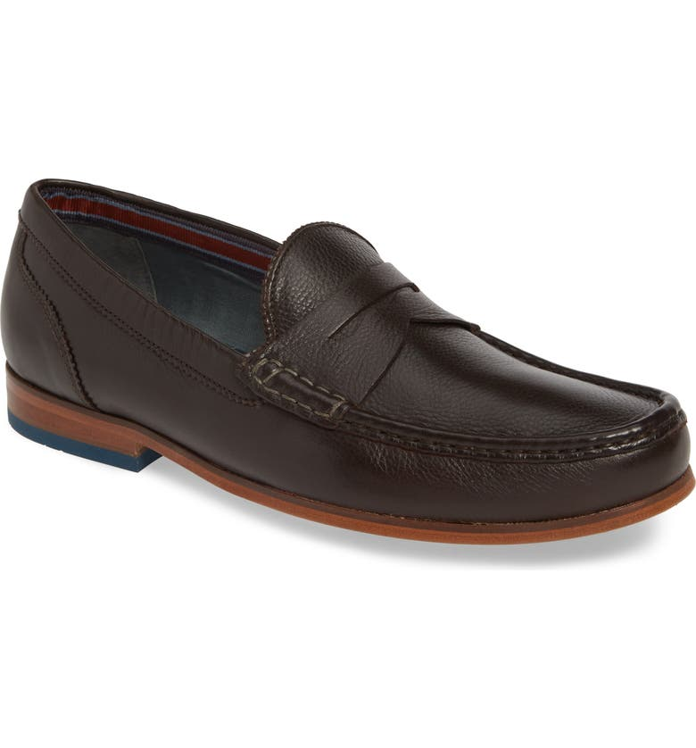 TED BAKER LONDON Shornal Penny Loafer, Main, color, BROWN LEATHER