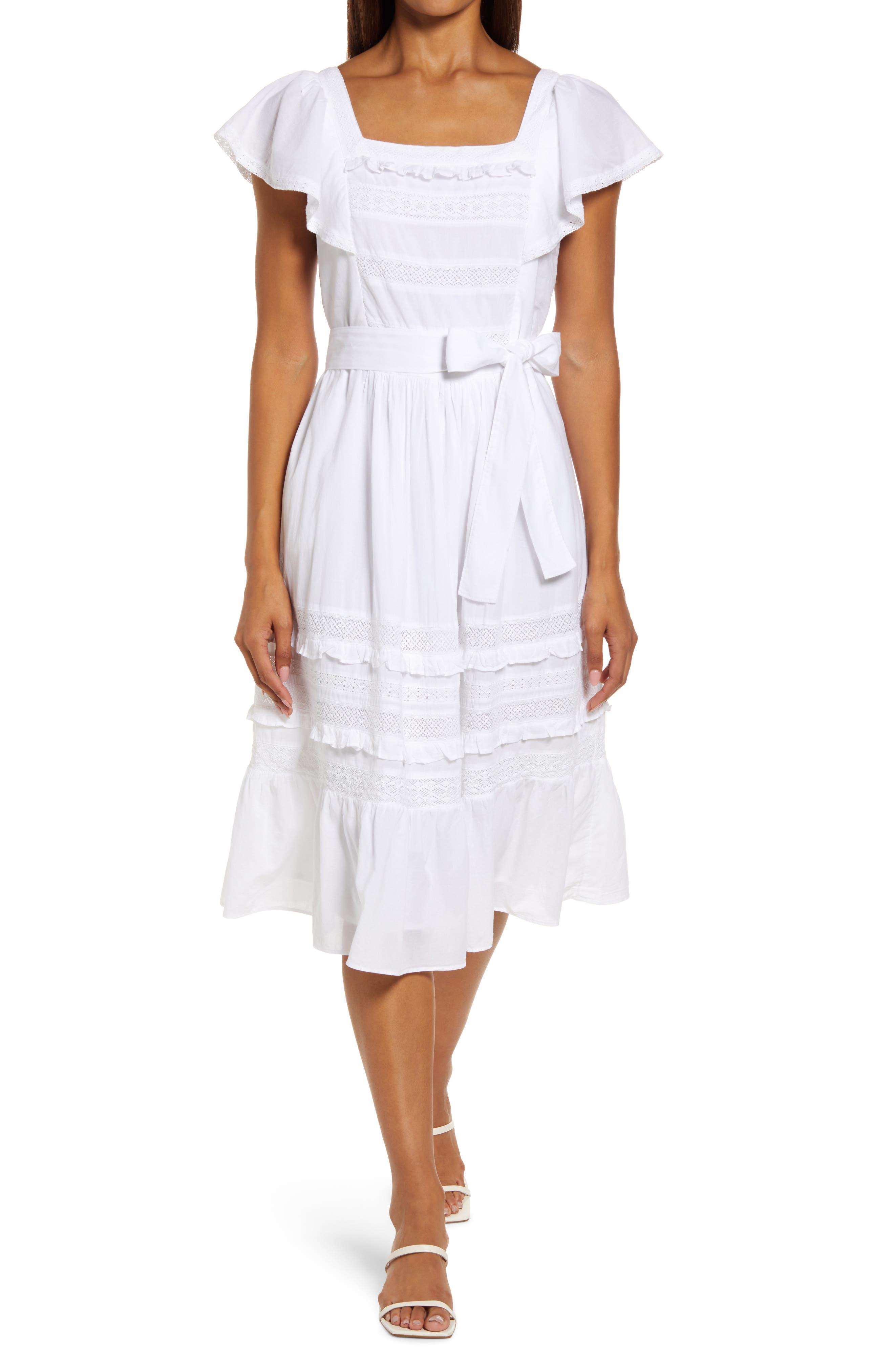 Tie Waist Cotton Poplin Midi Dress