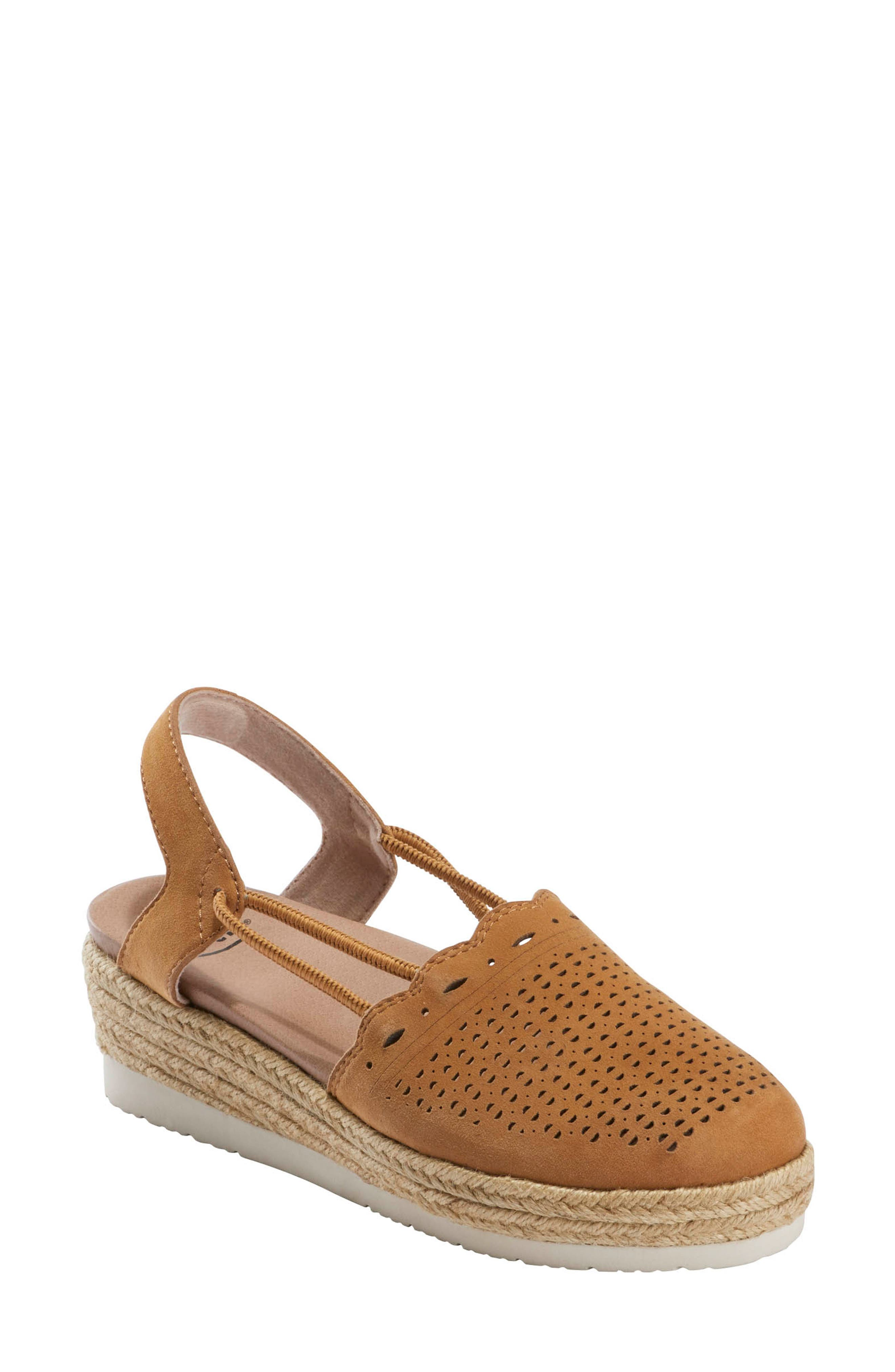 Braided jute trim brings an earthy element to a slingback wedge designed with a memory foam footbed for optimal everyday comfort. Style Name: Earth Buran Azalea Espadrille Wedge (Women). Style Number: 6024480. Available in stores.