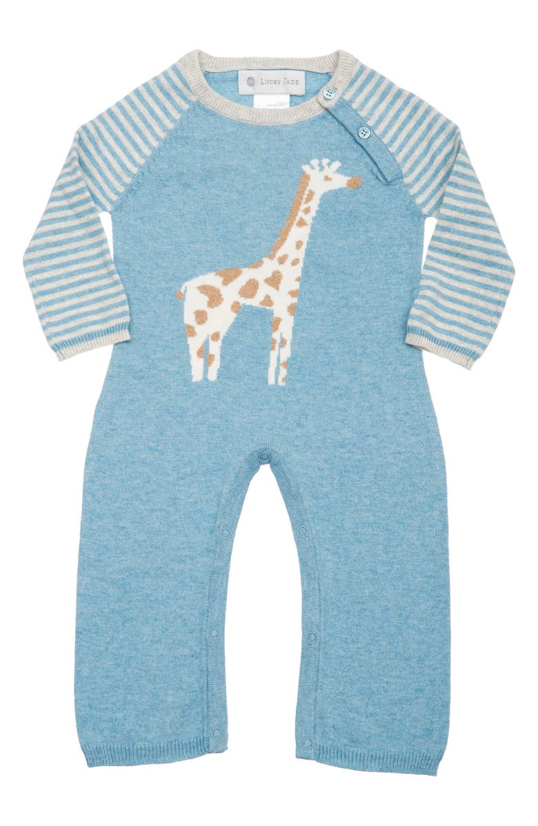 LUCKY JADE Cameron Giraffe Cotton & Cashmere Romper, Main, color, 400