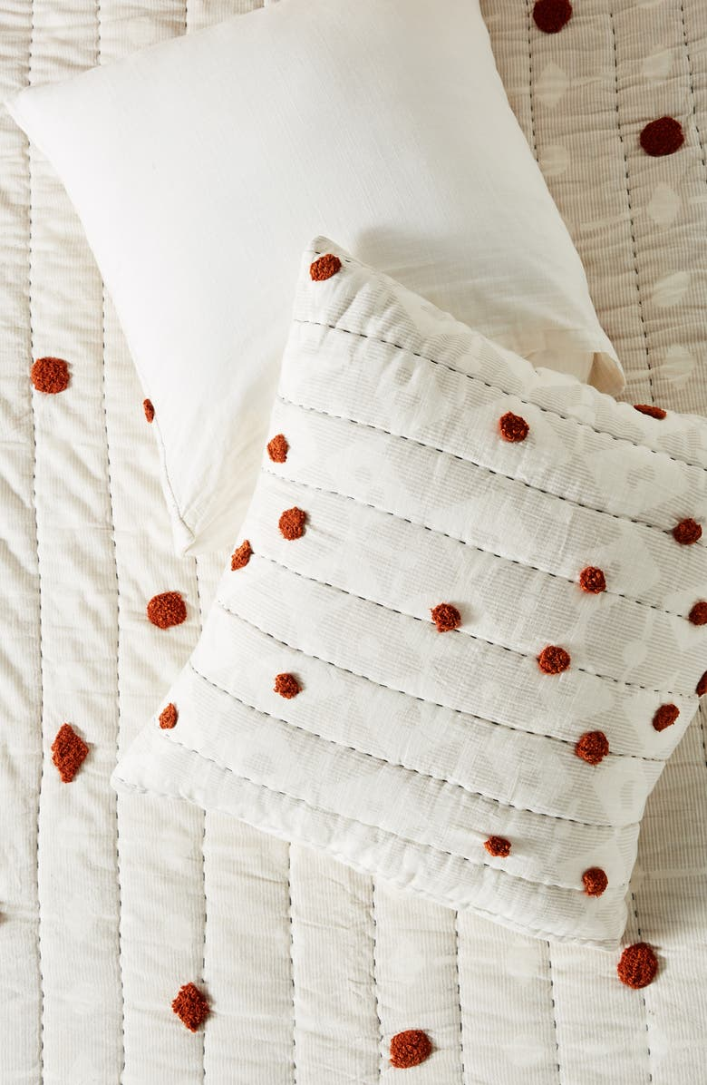 ANTHROPOLOGIE Mesa Quilted Euro Sham, Main, color, 100