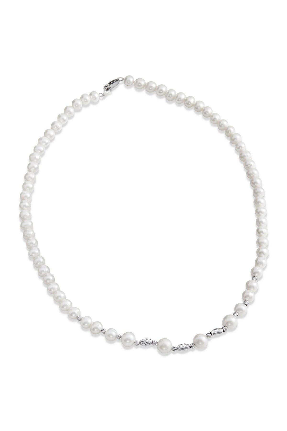Image of Savvy Cie Sterling Silver 6-7mm Cultured Freshwater Pearl Necklace