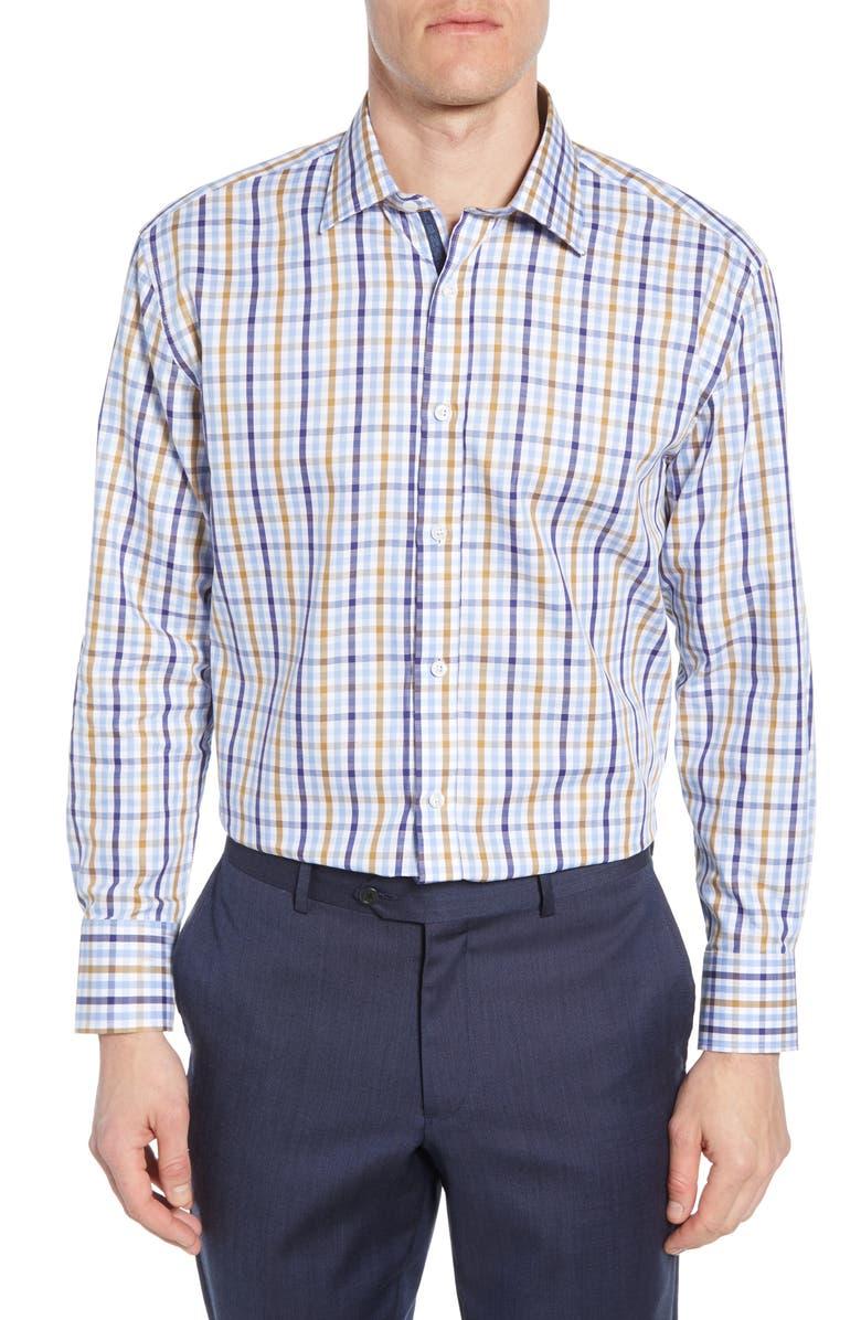 ENGLISH LAUNDRY Trim Fit Check Dress Shirt, Main, color, BROWN