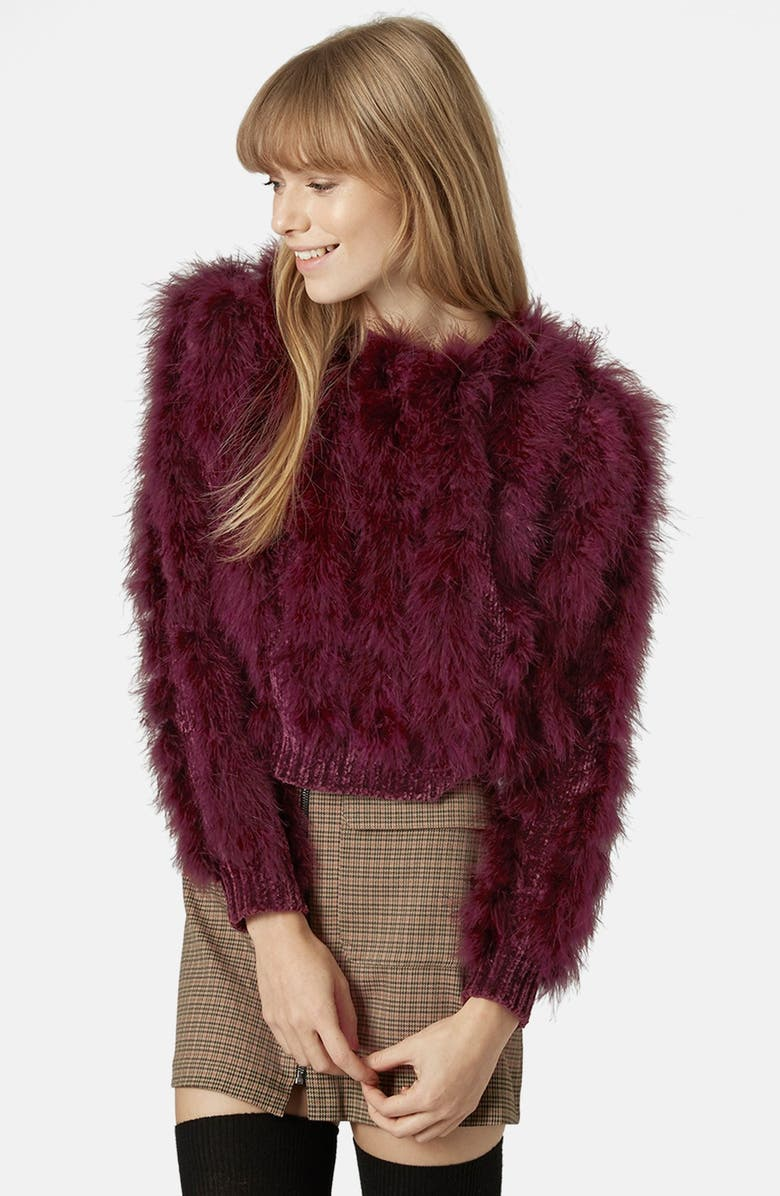 TOPSHOP Chenille Feather Sweater, Main, color, 600