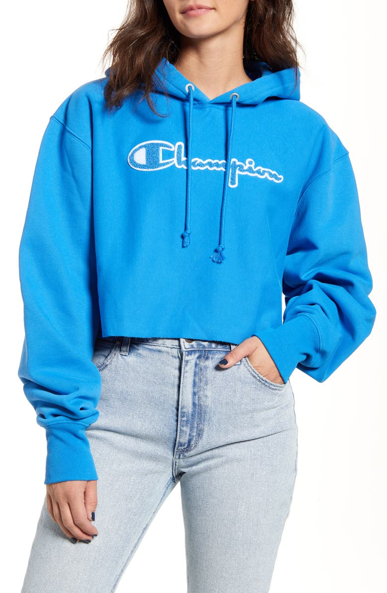 CHAMPION Reverse Weave<sup>®</sup> Chenille Logo Crop Hoodie, Main, color, BLUE JAY
